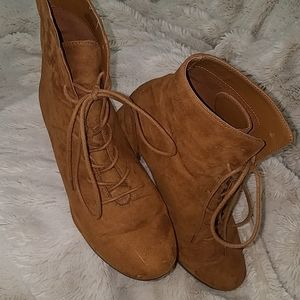 Faux suede mid booties